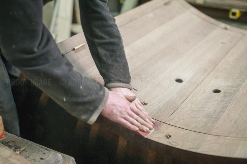 The Jack Badger team in the process of crafting a contemporary bar from 8000 year old Bog Oak.